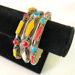 3 Handmade Silver & Stones Moroccan Bracelets